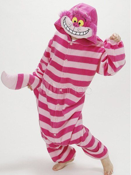 05b18c9dfa4b Kigurumi Pajamas Cheshire Cat Onesie For Adult Alice In Wonderland Cat  Fleece Flannel Costume Halloween