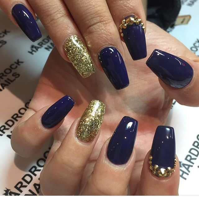 Exciting Nail Ideas With Blue And Gold Glitter Acrylic Nails