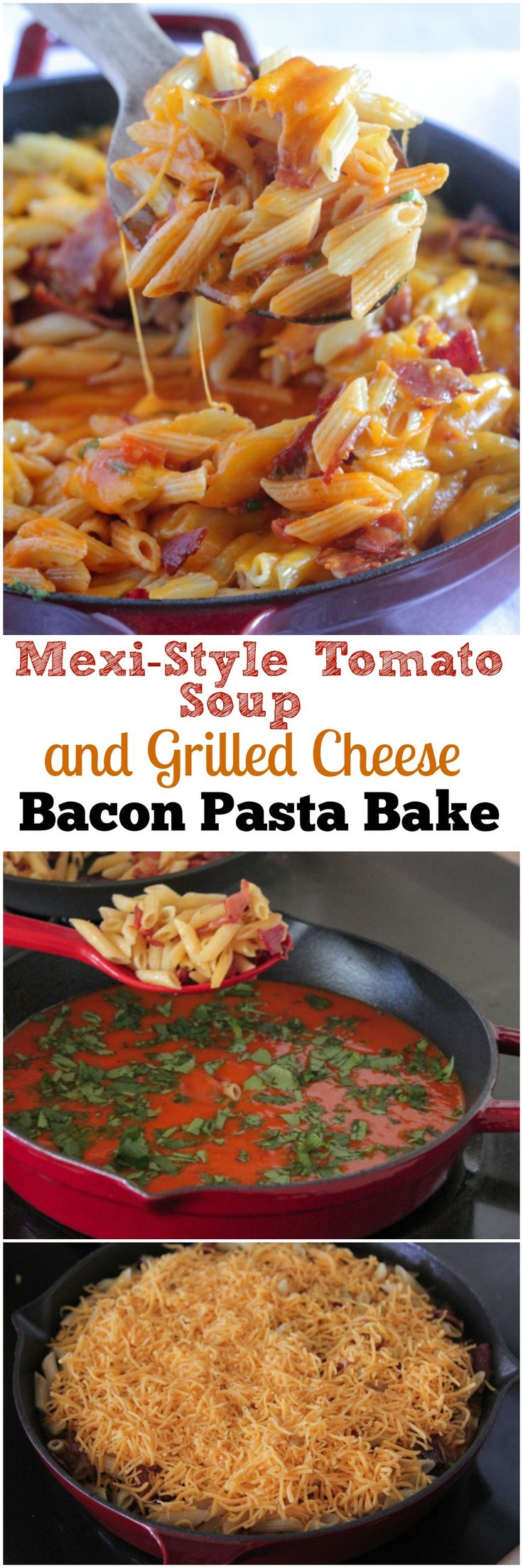 Mexi-Style Soup and Grilled Cheese Bacon Pasta Bake!  Simple amazing weeknight dinner idea, takes about 30 minutes to prepare!