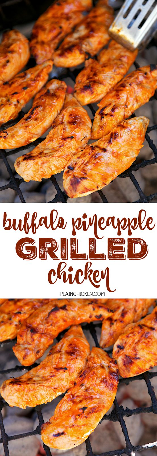 Buffalo Pineapple Chicken - chicken marinated in buffalo sauce and pineapple juice - grill, pan sear or bake for a quick weeknight meal. A little spicy, a little sweet and a whole lotta delicious! Ready to eat in 15 minutes!