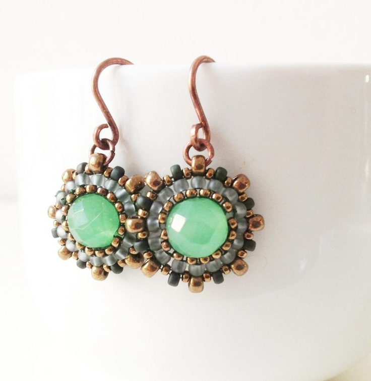 Handmade aventurine and seed bead earrings in pale frosted grey, forest green and bronze