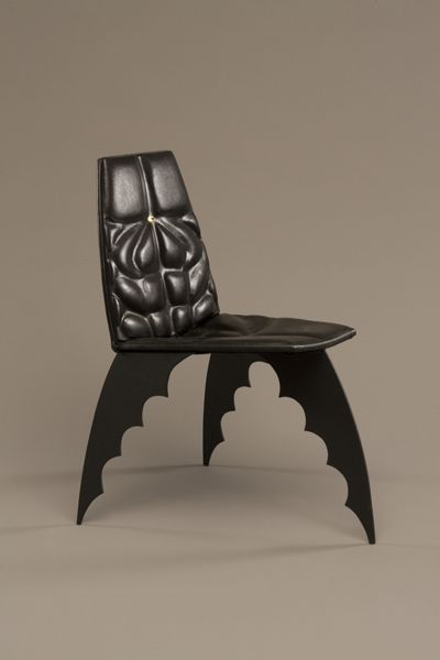 The Batman Chair Alex Locadia, 1989, Leather, steel, wood, paint, laminated tin pin. Museum of Arts and Design; gift of Jenette Kahn, 1992. Photo: Ed Watkins