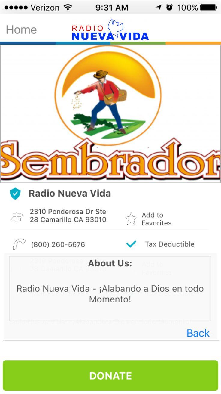 Radio Nueva Vida in Camarillo, California #GivelifyNonprofits