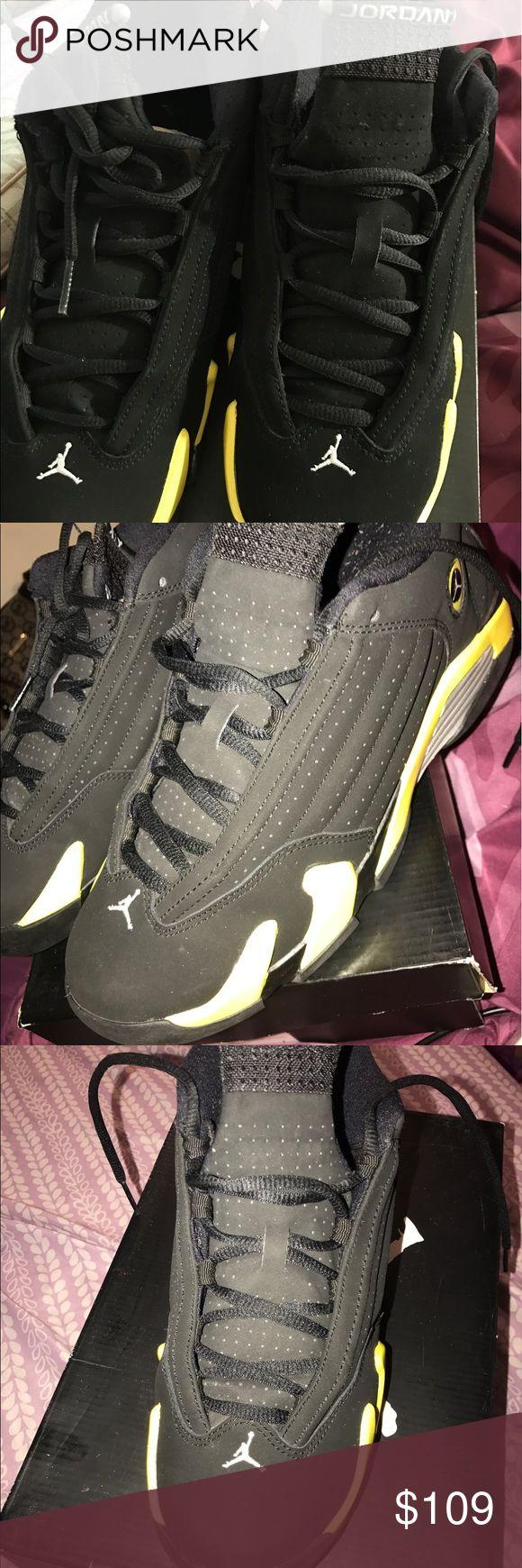 "Jordan Retro 14 ""Thunder"" black and yellow, comfortable, size 7 Jordan Shoes Athletic Shoes"