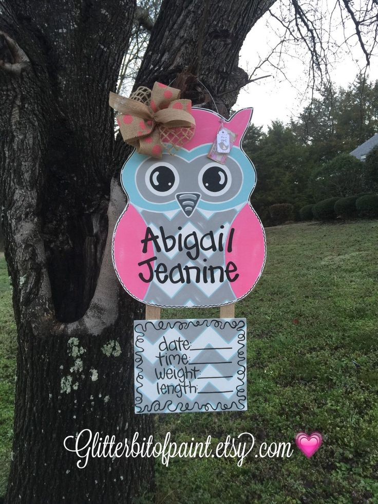 Owl door hanger, Hospital door hanger,  Baby door hanger with announcement plaque and deco bow:) by GlitterBitofPaint on Etsy https://www.etsy.com/listing/210318226/owl-door-hanger-hospital-door-hanger