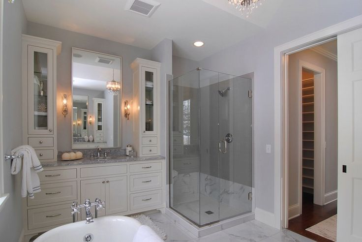 gray tiles and carrera marble on lower quarter of shower. Black Bedroom Furniture Sets. Home Design Ideas
