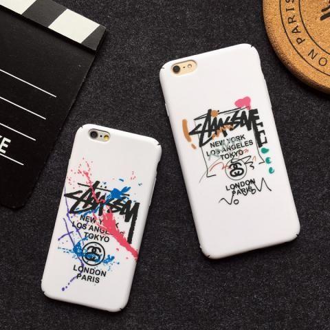 男芸能人ファッションブランドステューシーiPhone7/6ケースstussyアイフォン7 Plus/6s pulsマット素材ハード携帯カバー落書き