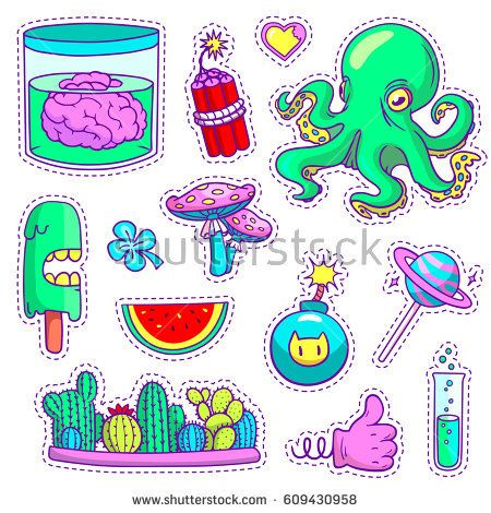 Set of cool neon patch badges and pins in vector. Different stickers in pop art style with cartoon plants, food and things.