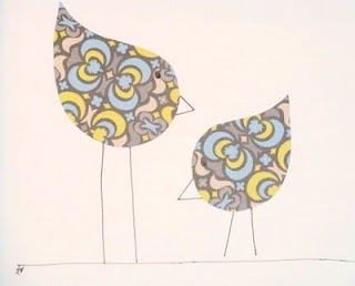 simple birds...cut out teardrop shaped fabric or patterned paper and draw legs and beaks