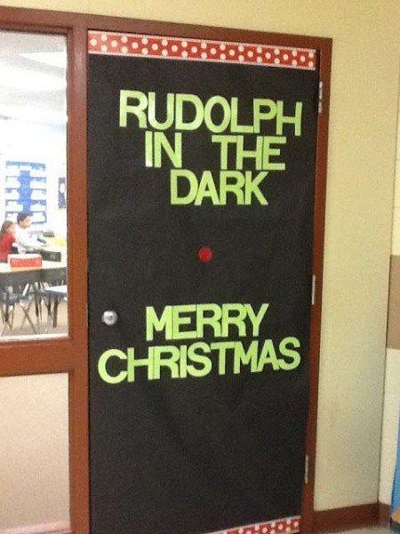 Funny Rudolph The Red Nose Reindeer Christmas Door