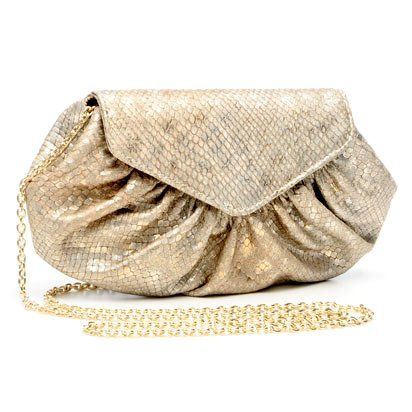 Lauren Merkin Diana Womens Evening Clutch Bag w/Chain (Champagne Metallic Snake)