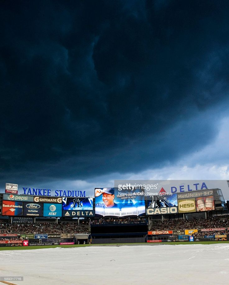 Rain clouds are pictured above Yankee Stadium during a pre-game ceremony before the final game of Alex Rodriguez as a New York Yankee on Friday, August 13, 2016. New York Yankees designated hitter Alex Rodriguez went 1-4 with a double and an RBI in his last game with the Yankees. The New York Yankees defeated the Tampa Bay Rays at Yankee Stadium in the Bronx, NY on August 12, 2016.