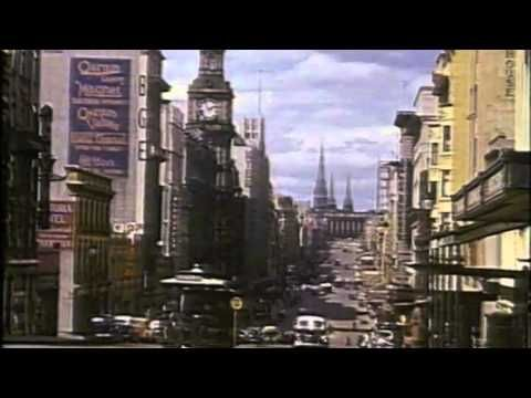 Colour films of Melbourne from 1940 and 1942. Sound track is a Melbourne radio program from 1940, Friday Night at 8.