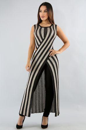 Striped Metallic Overlay Top