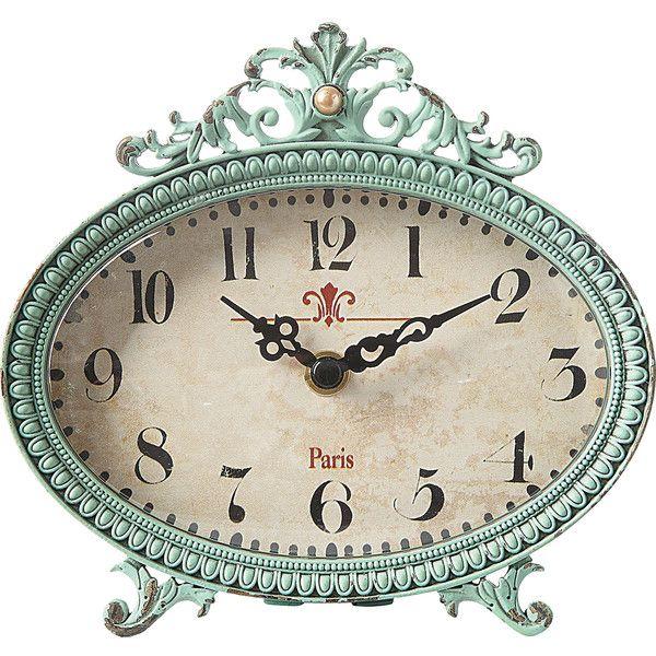Dot & Bo Parisian Mantle Clock (€22) ❤ liked on Polyvore featuring home, home decor, clocks, paris home decor, inspirational home decor, aqua clock, oval clock and aqua home decor