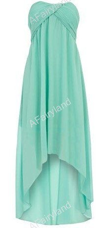 Mint green chiffon strapless dress. Live this color and love this dress
