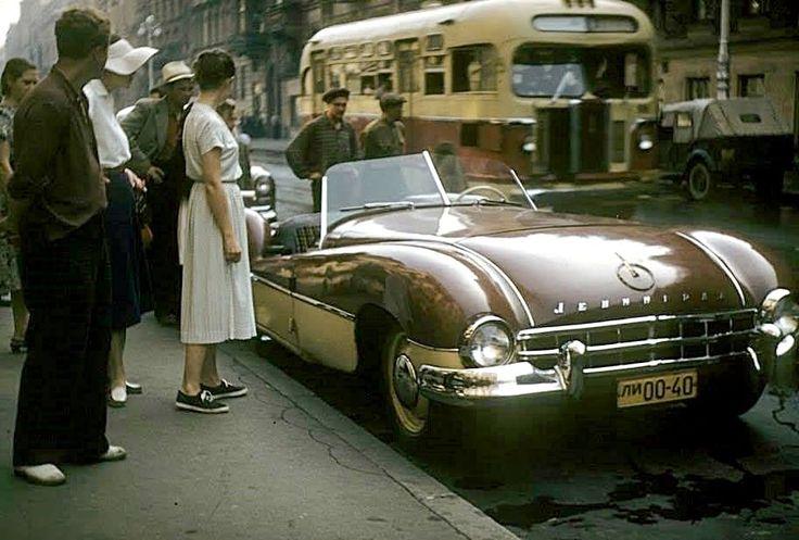"""""""Leningrad"""" homemade car, Leningrad 1956."""