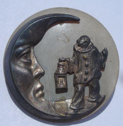 """""""Clown w Lantern Crescent Moon"""" on Horn Nouveau Vintage Antique Picture Button   eBay"""