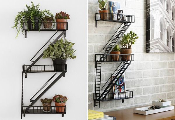 The following wall shelf looks like fire escape and it's called the same – Fire Escape Wall Shelf. Crafted from metal it's great for plants, figurines or even as a stand-alone accent. So if you need interesting element for your interior them you should definitely check this shelf. Want to buy? You can do it here. Aren't you sure that this is exactly what you need? Then check other shelves, for example Multifunctional Bookshelf Fusillo or Wooden Typographic Bookshelf.