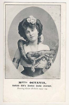 """Octavia, the snake charmer headlined Buffalo Bill's Wild West show and was called """"the Yankee Snake Charmer."""" She toured Great Britain with the show and appeared somewhat demure in images."""