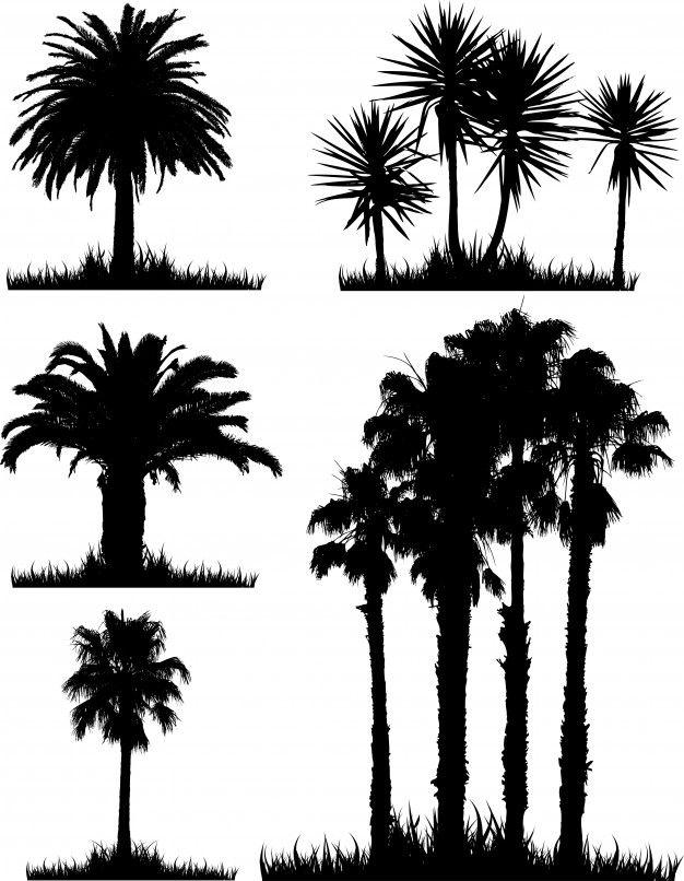 熱帯の木々のシルエットのコレクション 無料ベクター