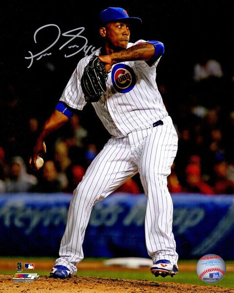 Pedro Strop Signed Chicago Cubs Pitching Action 8x10 Photo - Schwartz COA