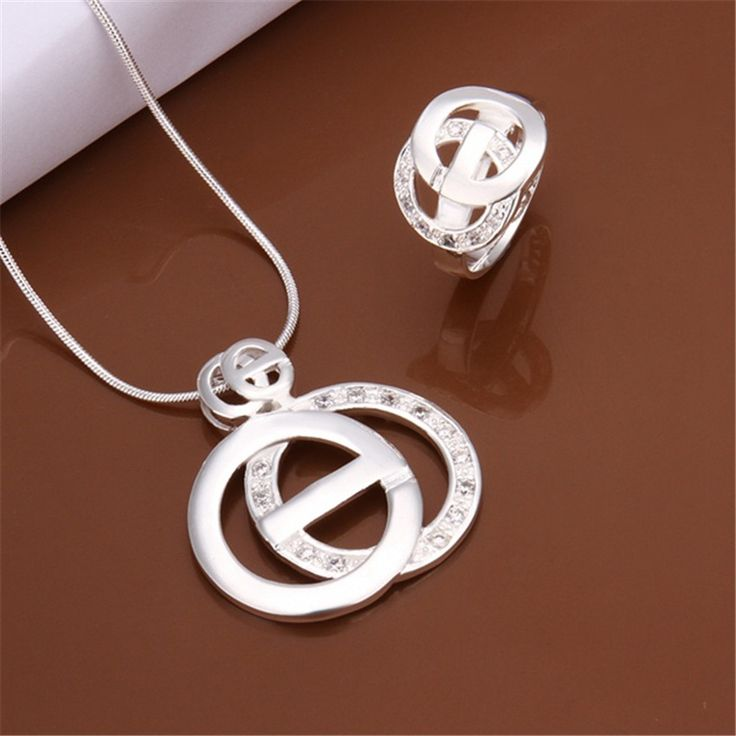 New Silver plated jewelry set fashion women charm European style inlaid stone two circles cross Pendant Necklace Ring S516