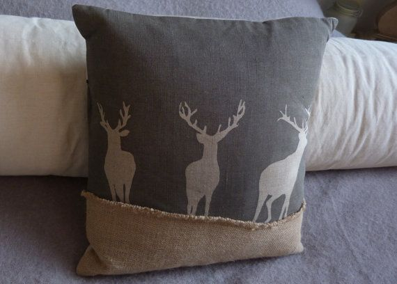 hand printed charcoal triple stag cushion cover by helkatdesign, $76.00