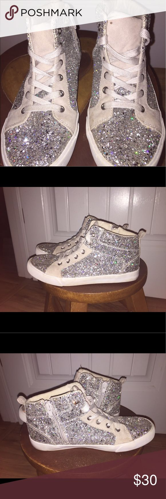 GAP high top sneakers GAP high top sneakers. silver Glitter. Only worn a few times GAP Shoes Sneakers