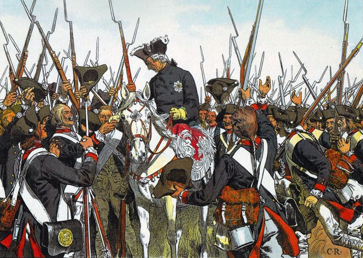 Frederick  the Great restores the regimental honours of the Regiment Bernberg after the battle of Liegnitz.