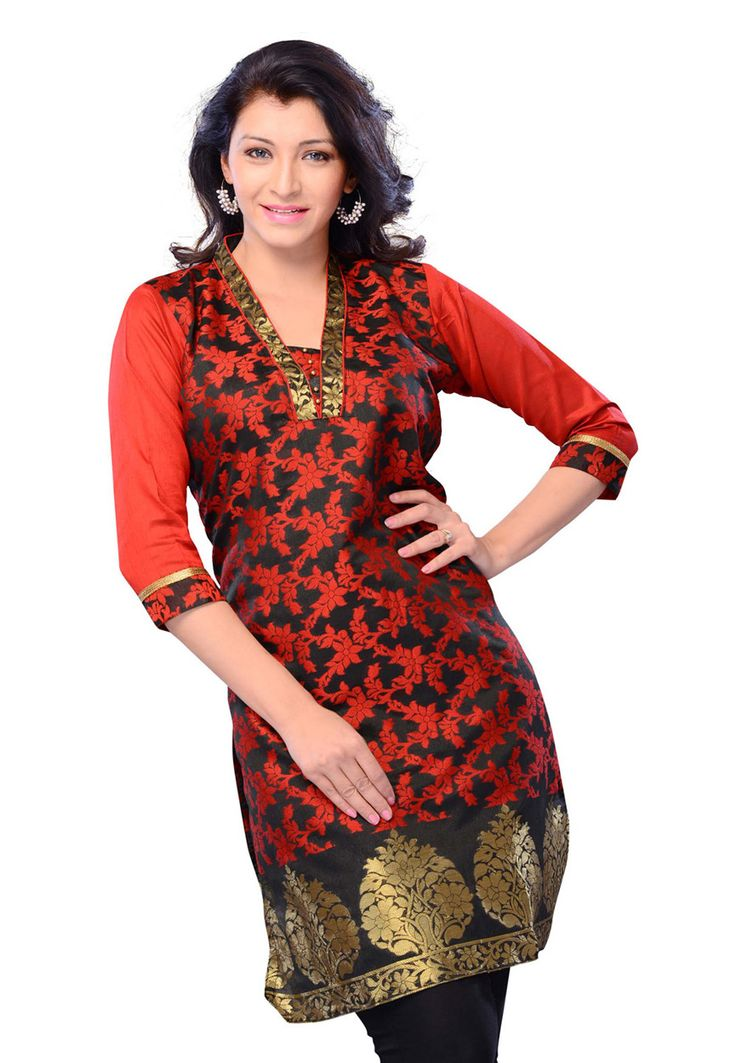 Black and Red Art Silk Jacquard and Art Silk Readymade Kurti Online Shopping: TFD35