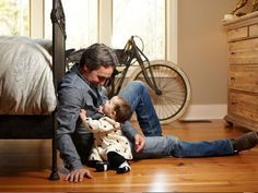 Mike of American Pickers with his sweet baby (love him!)