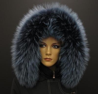 Nádherný kožešinový lem v tmavě modré barvě z mývalovce #fur