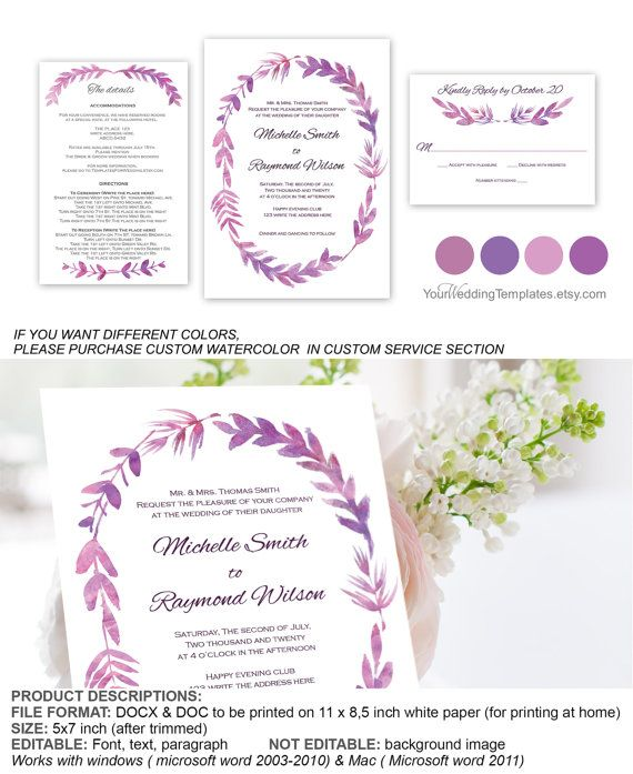 Purple Watercolor floral botanical wedding invitation| Invitation suite template|  RSVP template|wreath wedding invite| You edit text| T118