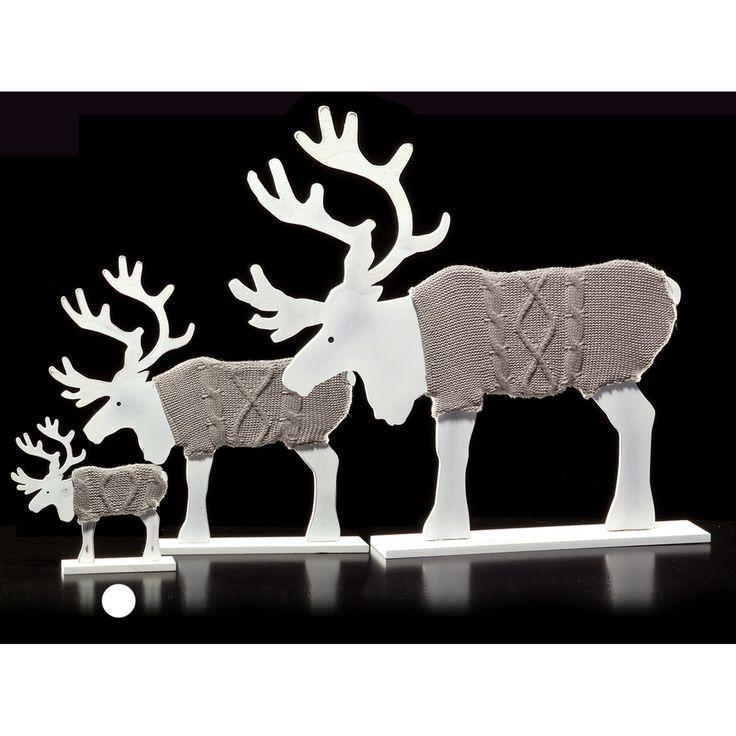 DRESCHER Holz-Elch Weihnachtsdeko Dekofigur zum Stellen 25 cm weiß/grau NEU | eBay