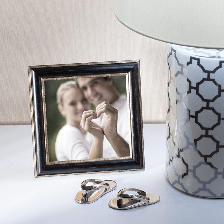 #ramka #photo #picture #frames #family #decoration #home #dekoracje Ramka stojąca Adel Black&Gold 23x23cm, 23x23cm - Dekoria