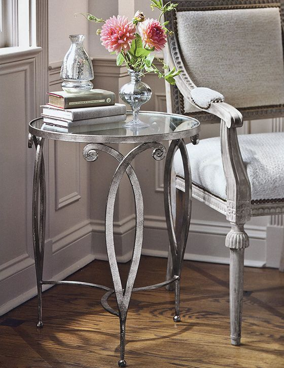 occasional #tables - room decor with gorgeous hand crafted wrought iron table with scroll design and antique silver leaf finish