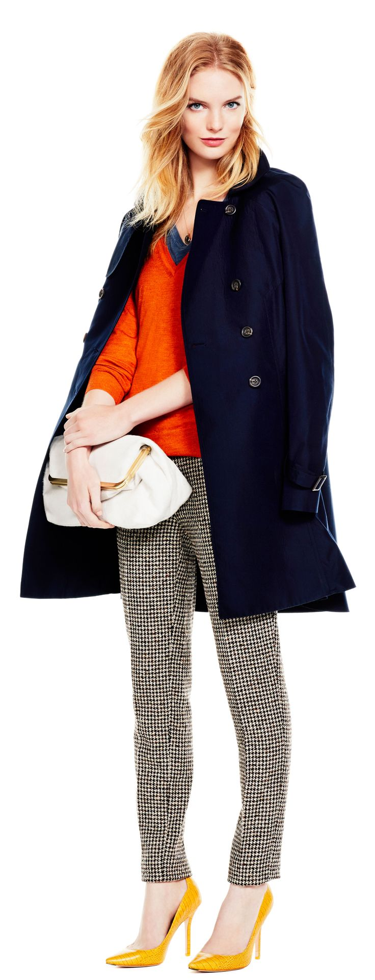 Navy and houndstooth.: Whowhatwearcom, Navy Coats, Whowhatwear Com, Orange Sweaters, Marines Layered, Outfits Ideas, Navy Peacoats, Trench Coats, Plaid Pants