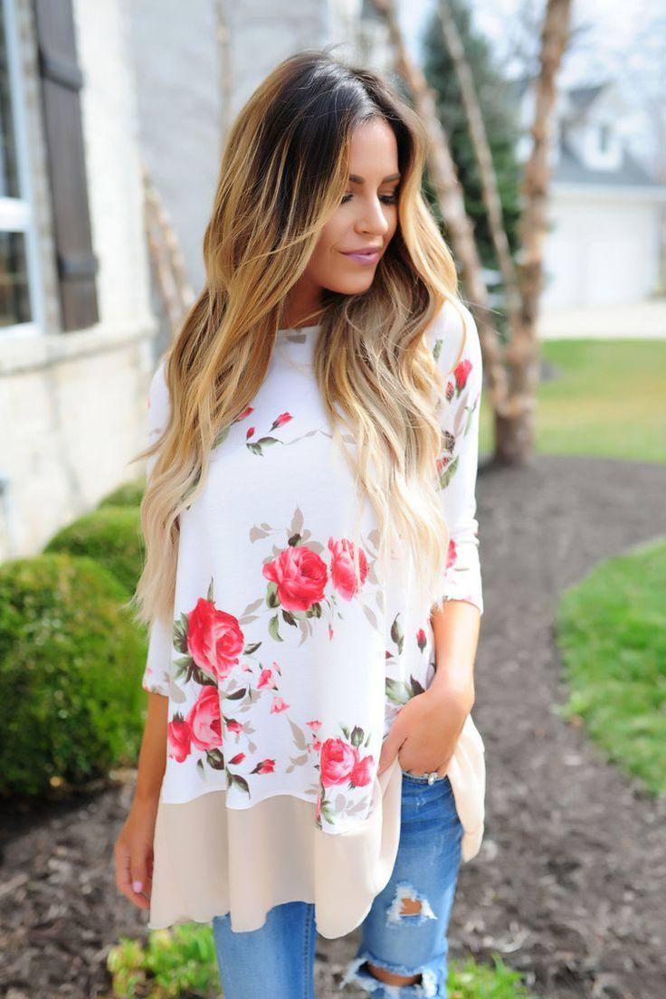 Ivory Floral/Beige Chiffon Trim Tunic - Dottie Couture Boutique