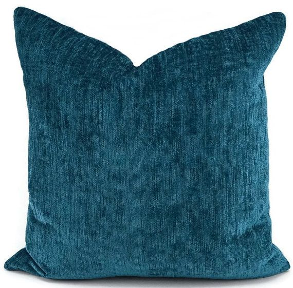 deep turquoise chenille pillow cover dark teal throw pillow peacock blue teal chenille