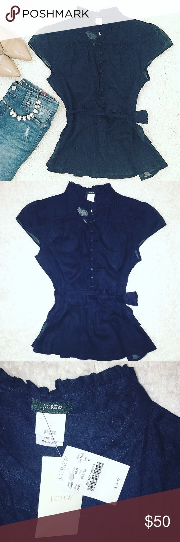 J. Crew | Navy Cap Sleeve Sheer Blouse NWT J. Crew cap sleeve sheer peplum blouse. 90% cotton 10% Ramie. Buttons up from the waist. Ties at the waist. Hidden zipper at the side. J. Crew Tops Blouses