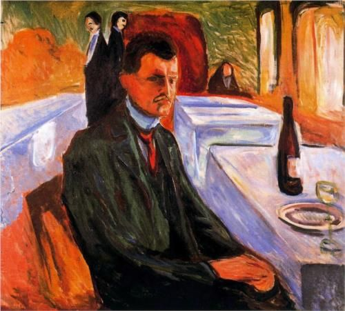 Self-portrait with bottle of wine - Edvard Munch