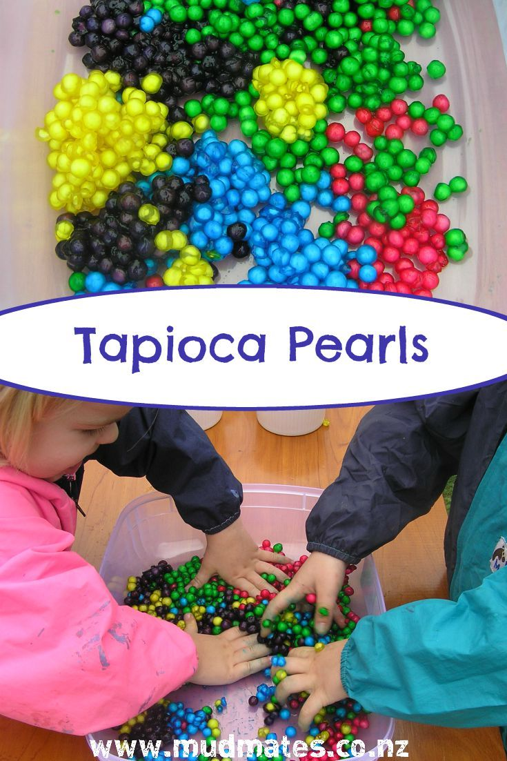 Tapioca Pearls - Mud Mates Messy Play Blog. This is a super fun sensory play activity and really isn't too messy at all. The tapioca balls are such a fun sensory material. They're soft and squishy and sticky and great fun to play fun. Slip on your child's Mud Mates first to protect their clothes and save you washing!