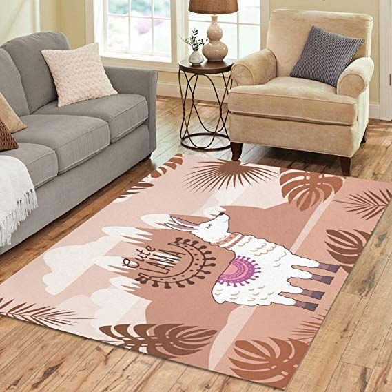 Design Area Rug Llama With Leaves Carpet For Living Room Dining