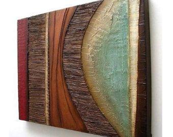 Pared con textura moderna escultura arte original pintura de acrílico del colgante de pared en lona collage mixta del colgante de pared de pintura abstracta