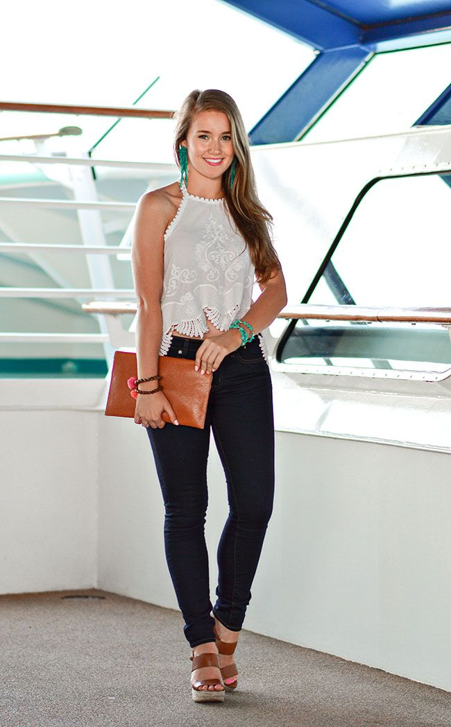scalloped halter top, halter top, scallop, monogrammed clutch, marley lilly clutch, turquoise earrings, michael kors posey wedges, tassel bracelets, southern style, preppy style, sorority girl style, texas, sorority, southern, college, fashion, blogger