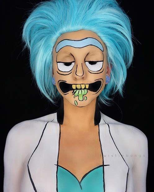 Rick and Morty Halloween Makeup Idea for Women #halloween #rickandmorty