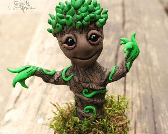 """Sale -15% cuponcode: """"JULYSALE"""" - Baby Groot sculpture - Groot figurine - groot figure - baby Groot doll - marvel - Guardians of the galaxy"""