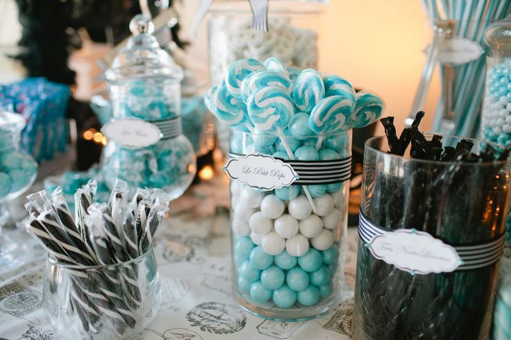 Masquerade Table Decorations Candy Table Paris theme - Tiffany Blue, white and black | Paris Sweet ...