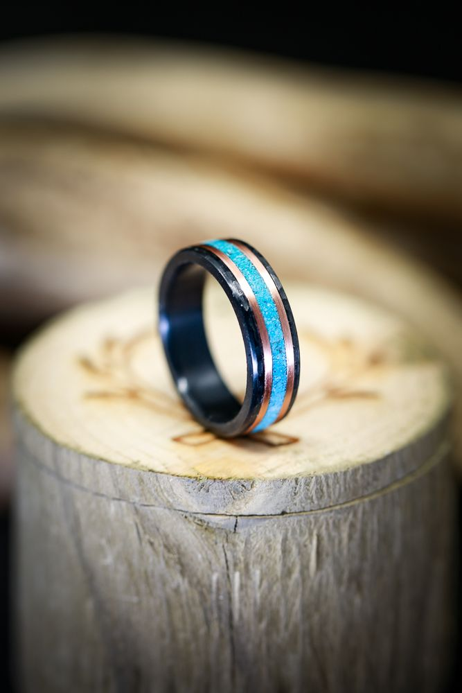 Hammered Black Zirconium Wedding Band With Turquoise 14k Gold Inlays Fully Customizable 14k Gold Wedding Ring Black Zirconium Mens Turquoise Rings